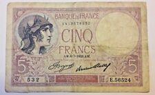 France, 5 Francs, 5 F 1917-1940 ''Violet'', 1933