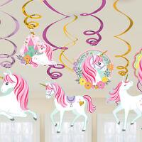 12 x Magical UNICORN Foil HANGING SWIRL Decoration Girl Party Birthday