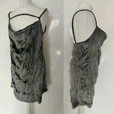 Missguided Women Slip Dress Grey Velvet Crushed Cowl Neckline Party Christmas 12