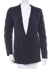 BRUNELLO CUCINELLI Navy Blue Double Breast Cable Knit Wool Cardigan Sz XL NWT