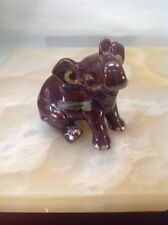 Vintage Brown Ceramic Baby Elephant Sitting, Trunk Raised, Made In Henderson NC