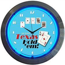 "Poker Texas Hold 'Em Neon Clock 15""x15"""