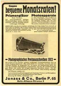 Prismengläser u.a. Jonass Ratenkauf Marken-Hersteller-Werbung Offerte von 1913