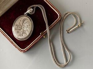 Jugendstil Medallion Foto Anhänger mit antiker Silberkette