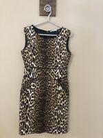 T Tahari Womens Size 4 Sheath Dress Brown Animal Print Sleeveless Pockets