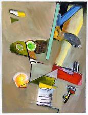 Doris Vlasek Hails Abstract Mixed Media Painting Indiana Artist Grey Green Red