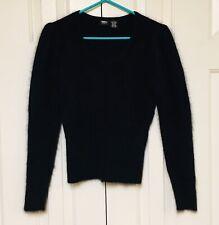 Mossimo Angora Sweater Top Solid Black Warm Fuzzy Pullover Women's Small
