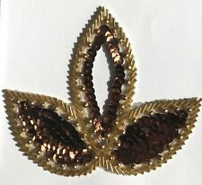 Bronze Triple Leaf Large Floral Beaded Sequined Sew-On Applique Craft Patch VTG