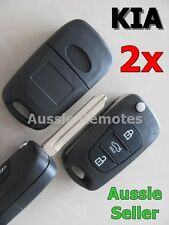 2x KIA Remote Flip Key Shell 3 BUTTON For SORENTO SPORTAGE CERATO RIO with logo