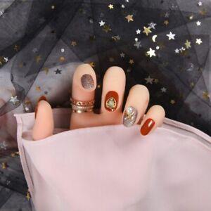 24pcs/Orange Acrylic Design Rhinestone Fake Nails Press on Tips DIY Art Manicure