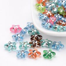 100 Pcs Star Metal Enlaced Acrylic Beads Mixed For Color Jewelry Making 10mm