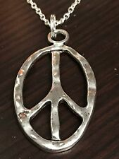 "60's Boho Peace Sign Jagged Edge Retro Tibetan Silver Charm Necklace 18"" BIN"