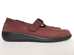 HOTTER Flat Comfort Shoes 7.5 41 Brown Real Suede Wide Senior Comfortable Strap