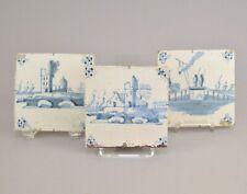 Carrelage Trois Carreaux de Faïence en Delft à décor Blanc Bleu 18ème