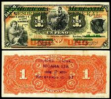 NICE CRISP UNC. 1896 1 PESO NICARAGUA  BANKNOTE  COPY!