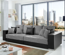 Bigsofa Adria Big Sofa Couch in schwarz Bezug Webstoff hellgrau mit vielen Kisse