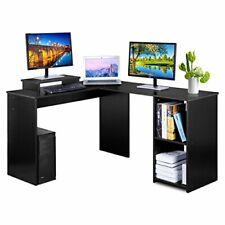 L-Shaped Large Corner Computer Desk - PC Laptop Study Table Gaming Workstation