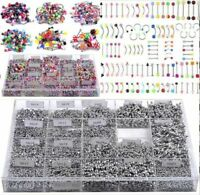 85/105pcs Bulks Body Piercing Eyebrow Jewelry Belly Tongue Bar Ear Nose Ring