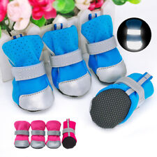 4pcs Waterproof Dog Shoes Rain Boots Mesh Chihuahua Booties Reflective Anti-slip