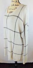 Intro Woman Light Sweater 2X W Light Creamy Gray Black Trim Modest Rounded Neck
