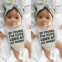 Newborn Infant Baby Girl Boy Short Sleeve Letter Romper Bodysuit Outfits Clothes