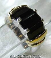 Three stone BLACK SPINEL VERMEIL and STERLING SILVER 925 COCKTAIL RING size 6