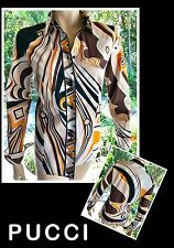 Emilio Pucci, Firenze, Orange & Brown Retro Cotton Button Down Blouse/Tunic L ^