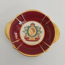 Aynsley & Co Original 1953 Maroon & Gold Trim Dish Coronation Queen Elizabeth II