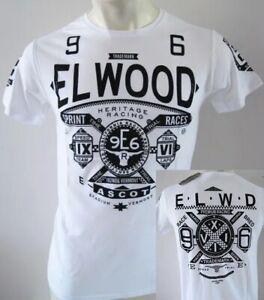 ELWOOD Mens Latest Premium Top Tee T-shirt Size M L XL XXL Hurley Fox white