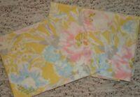 2 Queen Floral Pillowcases Pastel Mod Flower Retro 20x31 Yellow Pink Burlington