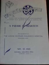 """SHOW PROGRAM, """"A Parade of Quartets"""" Shrine Children's Hospital, Springfield, MA"""