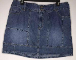 "Venezia Jeans Clothing Co.StuddedSkirt Sz 22 Denim Blue 3 Pockets Length17.5"""
