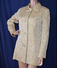 VOGUE PARIS ORIGINAL Vintage Jacket sz M Metallic Brocade Car Coat Glass Buttons