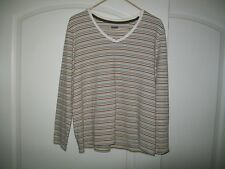 BASIC EDITIONS WOMEN'S LONG SLEEVE COTTON V-NECK TOP-TAN-SIZE XL