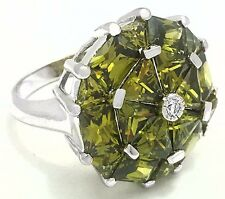 PERIDOTS 8.40 Carats & WHITE SAPPHIRE RING .925 STERLING SILVER * 10 Grams
