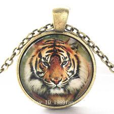 Clásico Tigre Cabujón bronce Vidrio Cadena Colgante Collar TG14