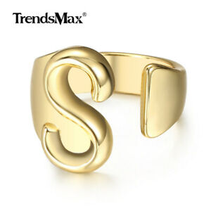 Gold 26 Letters Open Knuckle Rings Fingle Adjustable Tiny Initial Alphabet Ring