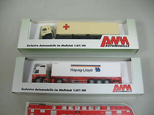 AK952-0, 5 # 2x AWM H0 Truck/Lorry Volvo: 4097.41 Hapag-Lloyd +60207 Drk Mint+