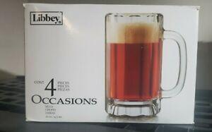 Libbey Heidelberg Glass Beer Mugs, 16-ounce, Set of 4 New in Original Box