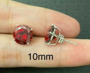 1CT-3CT Round Cut diamond Earrings 14k/sterling Silver Red ruby Studs Push-Back