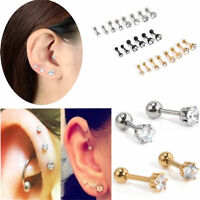 2Pcs/set CZ Gem Round Steel Barbell Tragus Cartilage Stud Earring Piercing Gift