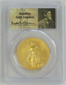 2014 W GOLD $50 AMERICAN EAGLE COIN AUGUSTUS SAINT GUADENS LABEL PCGS MS 70