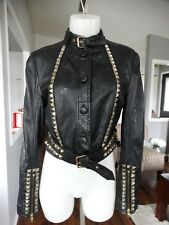 ABS by Allen Schwartz Luxury Collection LEATHER JACKET WITH PYRAMID STUDS SMALL