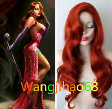 Copper Red Jessica Rabbit Wavy Long Anime Cosplay Wigs+ Free wig cap