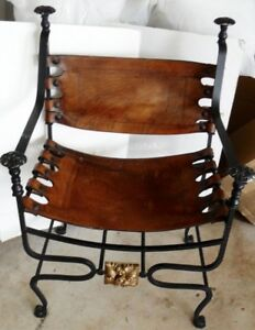 Antique Vintage  Italian Campaign chair  , Iron with leather