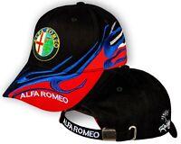 Alfa Romeo Nero Rosso Cappello Ricamato Auto Logo Cappellino Baseball Cap Uomo