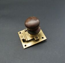 Quality Genuine Antique Brass & Mahogany Sprung Cabinet Door Lock / Catch