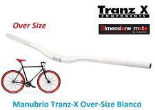 Manubrio Curvo Over-Size Tranz-X Alluminio Bianco per Bici 26-28 Fixed Scatto Fi