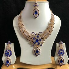 BLUE GOLD INDIAN COSTUME JEWELLERY NECKLACE EARRINGS DIAMOND CRYSTAL SET NEW 423