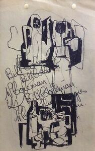 "BILL COLEMAN AUSTRALIAN SIGNED CUBIST INK ""ABSTRACT DESIGN"" C 1970 A"